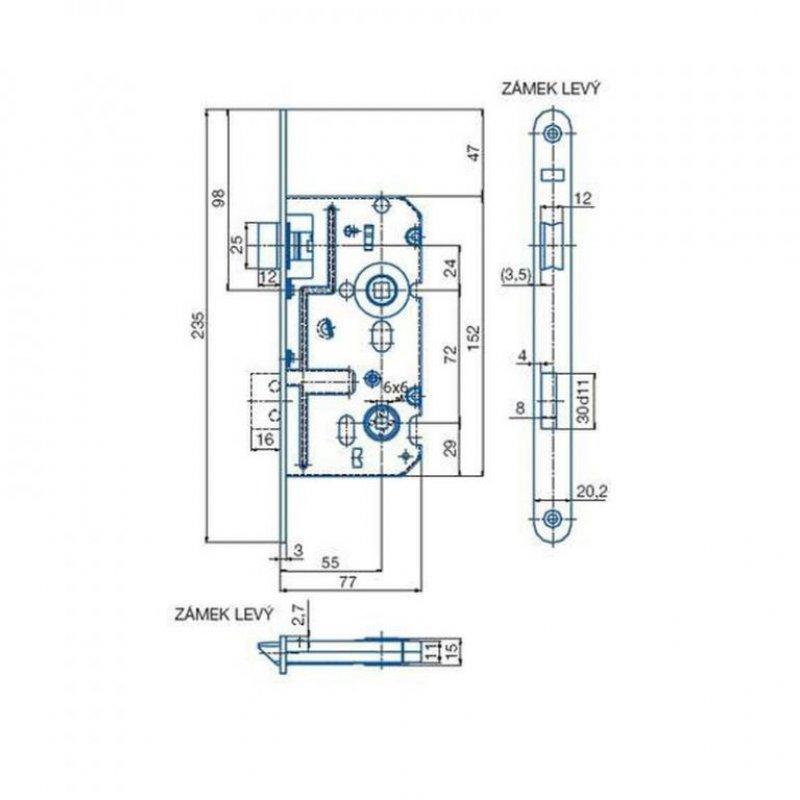 Zadlabací zámek K222 - rozměry